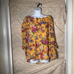 Women yellow floral blouse.